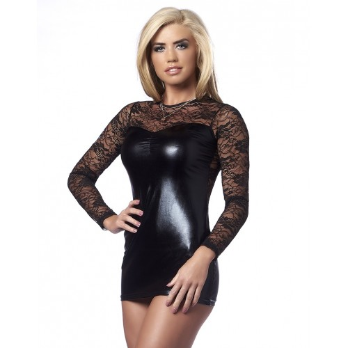 Amorable - Party Dress med Wetlook og Blonder