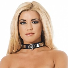 Rimba - Lær collar med metall, 3cm