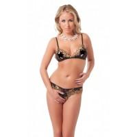 Amorable - Åpen bikini, sort med gulldetaljer
