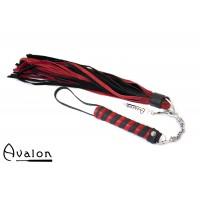 Avalon - Flogger med kjetting mellom håndtak og haler - Rød og sort