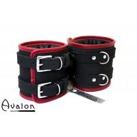 Avalon - CONTROL - Ekstra brede håndcuffs sort og rød