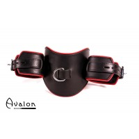 Avalon - Collar med cuffs i lær Sort og rød