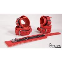 Avalon - Cuffs og collar sett rødt og sort glatt lær