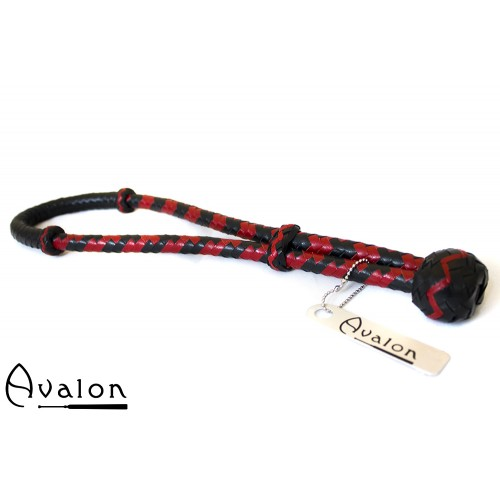 Avalon - CYCLOPS - Svartog Rød Loop Pisk i Lær