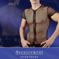 Nettingskjorte med glidelås, mann